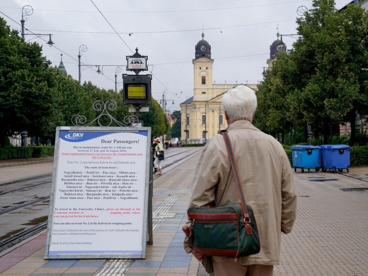 Lezártak egy szakaszt a Piac utcán, Debrecenben