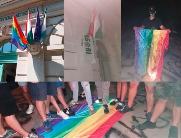 Ferencvárosi ultrák letépték a szivárványos zászlót a városházáról